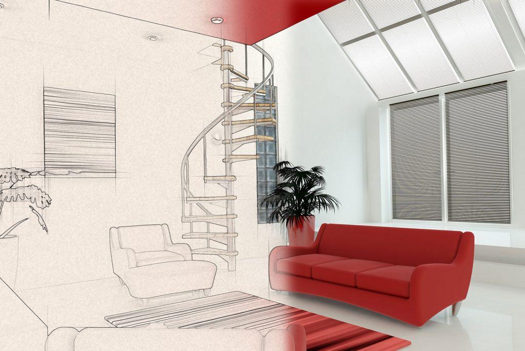En stue ses, hvoraf halvdelen er vist som en grov skitse og den anden halvdel er et realistisk billede